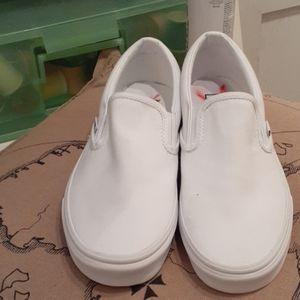 Vans Shoes - Brand new white canvas slip on vans